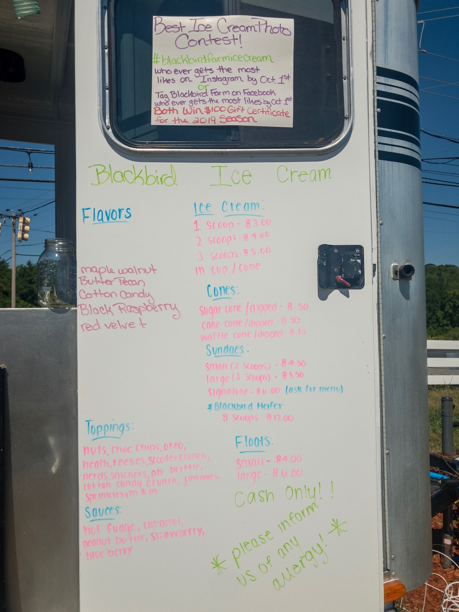 Moo Moo Ice Cream Menu